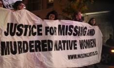 Protestors march at the 2013 Vigil for missing and murdered Aboriginal women.