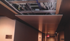 A falling ceiling panel causes concern at Hotel Forestel