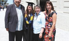 Jenna Newton at her convocation with her mother and grandparents.