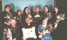 The winners of the 2015 Outstanding Cree Women Awards. (Back row, left to right) Melissa Whiskeychan, Juliet Asquabaneskum, Angela Stewart-Georgekish, Carmen Faries, Kerishia Jolly, and Babbey Jane Happyjack. (Front row) Eva Whiskeychan, Elder Robbie Matthew, and Dorothy Gilpin. (Absent from the photo are award winners Janie Pachano and Sophie Shem).