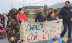Cree kids participate in international walk to school initiative