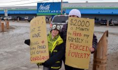 Protesters draw attention to high food prices in the North on Saturday June 9, 2012 in Iqualuit, Nunavut. THE CANADIAN PRESS/Aaron Watson