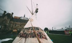 Indigenous group erect teepee at Canada 150 celebrations