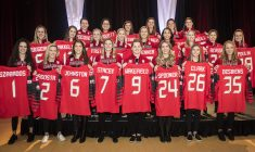 Canada's national women's hockey team for the 2018 PyeongChang Olympics is introduced at Winsport's Markin McPhail Centre in Calgary, Alberta on December 22, 2017.  Canada's roster includes three goaltenders, six defencemen, and 14 forwards:  Goaltenders: Ann-Renée Desbiens (La Malbaie, Que./University of Wisconsin, WCHA), Geneviève Lacasse (Kingston, Ont./Calgary, CWHL), Shannon Szabados (Edmonton, Alta.)  Defencemen: Renata Fast (Burlington, Ont./Toronto, CWHL), Laura Fortino (Hamilton, Ont./Markham, CWHL), Brigette Lacquette (Mallard, Man./Calgary, CWHL), Jocelyne Larocque (Ste. Anne, Man./Markham, CWHL), Meaghan Mikkelson (St. Albert, Alta./Calgary, CWHL), Lauriane Rougeau (Beaconsfield, Que./Montreal, CWHL);  Forwards: Meghan Agosta (Ruthven, Ont.), Bailey Bram (Ste. Anne, Man./Calgary, CWHL), Emily Clark (Saskatoon, Sask./University of Wisconsin, WCHA), Mélodie Daoust (Valleyfield, Que./Montreal, CWHL), Haley Irwin (Thunder Bay, Ont./Calgary, CWHL), Brianne Jenner (Oakville, Ont./Calgary, CWHL), Rebecca Johnston (Sudbury, Ont./Calgary, CWHL) Sarah Nurse (Hamilton, Ont./University of Wisconsin, WCHA), Marie-Philip Poulin (Beauceville, Que./Montreal, CWHL), Jillian Saulnier (Halifax/Calgary, CWHL), Natalie Spooner (Scarborough, Ont./Toronto, CWHL), Laura Stacey (Kleinburg, Ont./Markham, CWHL), Blayre Turnbull (Stellarton, N.S./Calgary, CWHL), Jennifer Wakefield (Pickering, Ont./Linköping HC, SWE).